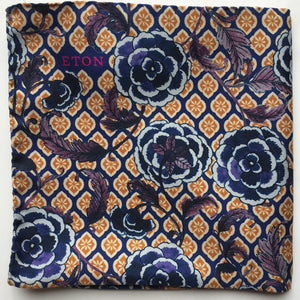 Eton Blue Floral and Medallion Pocket Square.