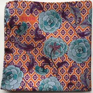 Eton Orange Floral and Medallion Pocket Square