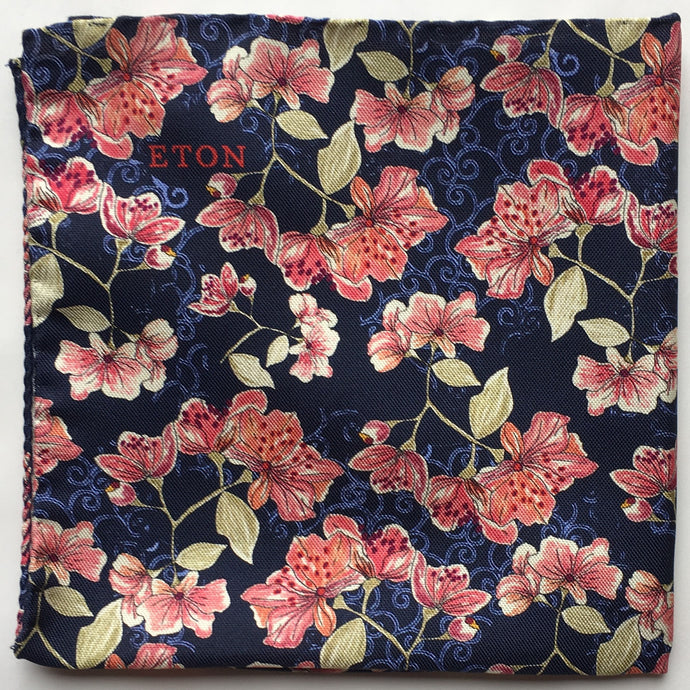 Eton Navy Floral Pocket Sqare
