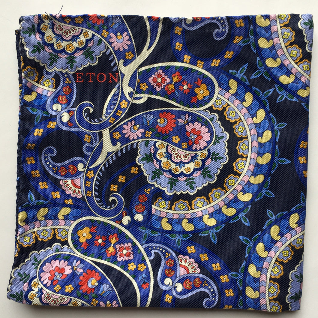 Eton Navy Crazy Paisley Pocket Square