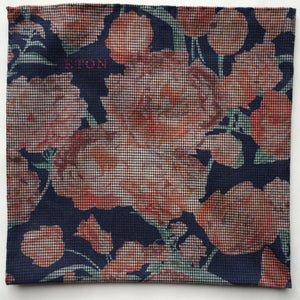 Eton Navy & Pink Floral Pocket Square