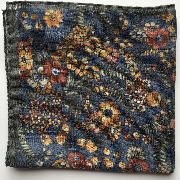 Eton Dark Blue Floral Pocket Square