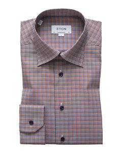 Eton Orange and Brown Checkered Twill Shirt