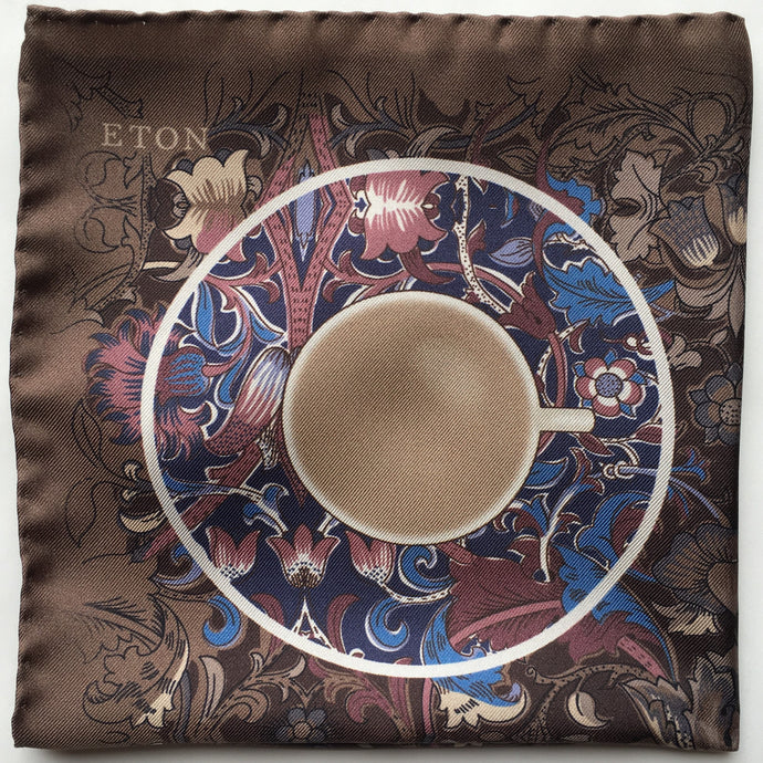 Eton Brown Teacup Floral Pocket Square