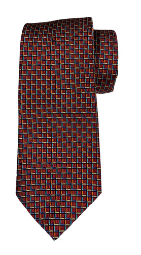 JZ RICHARDS  Red Tie with Multi-Colored Blocks
