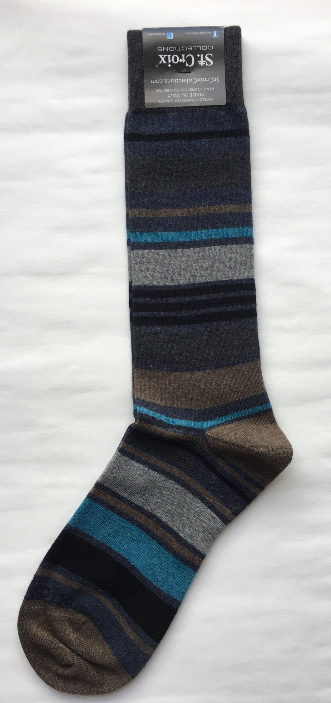 St. Croix Multi Striped Socks | Dark Gray