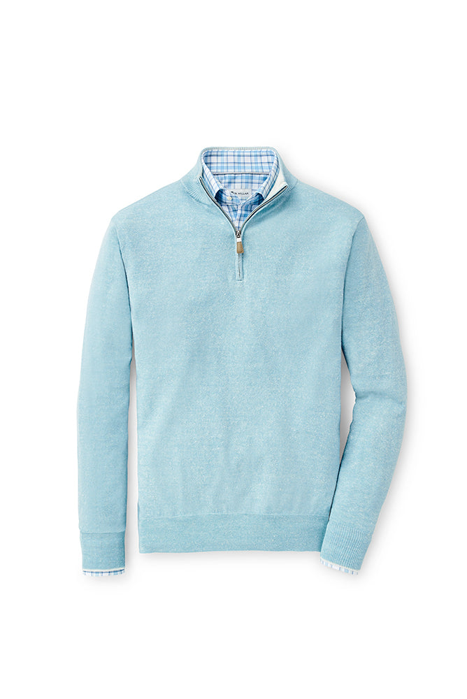 Peter Millar Providence Wool-Linen Quarter-Zip | Tropical Blue