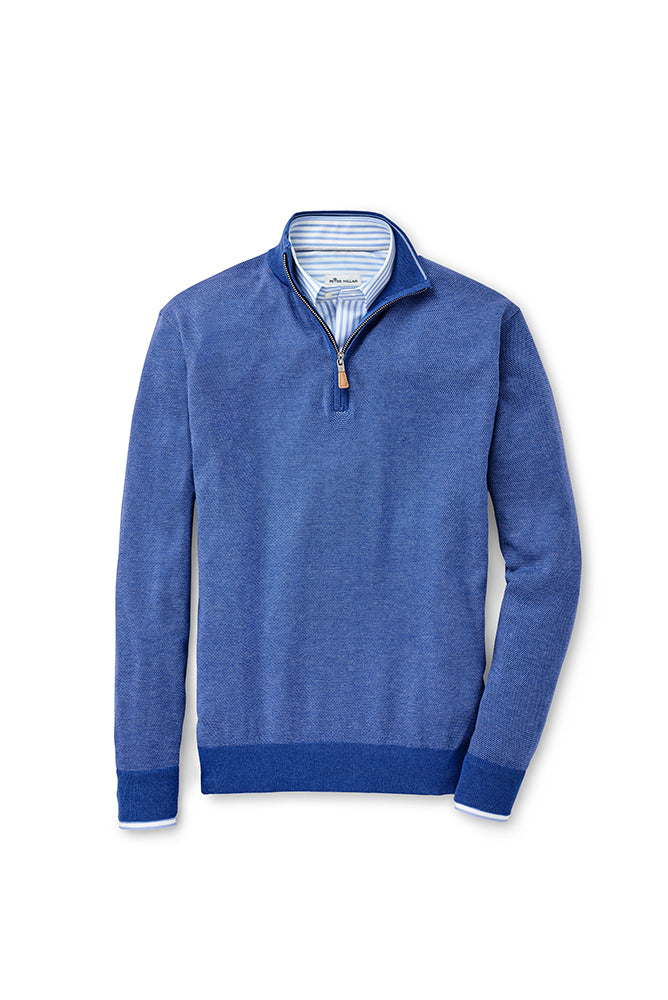 Peter Millar Birdseye Quarter-Zip Sweater | Blue Lapis