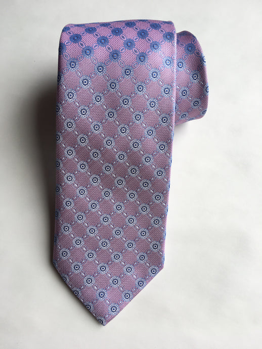 Eton  Medallion Pattern Tie | Pink & Blue