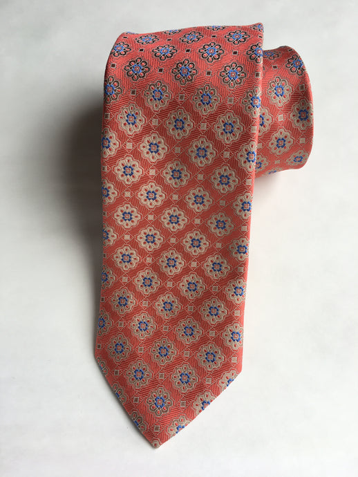 Eton  Diamond Medallion Tie | Coral