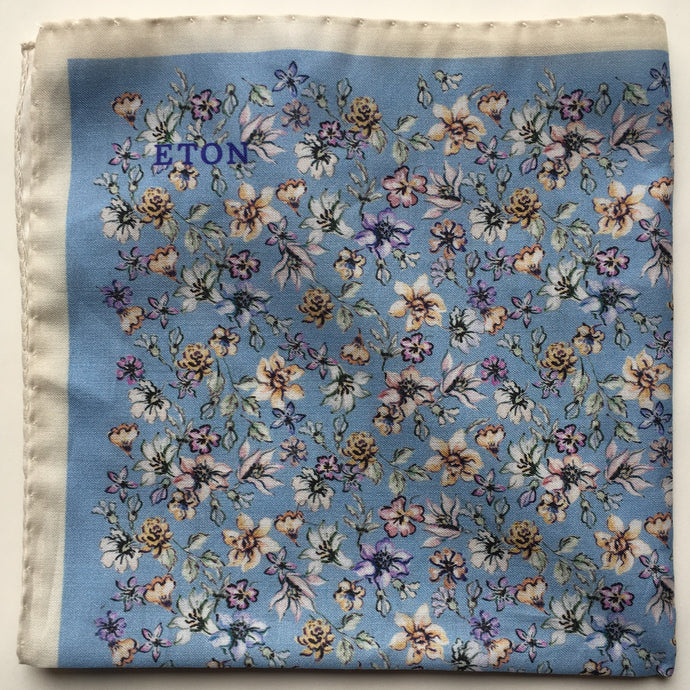 Eton Light Blue Floral Pocket Square