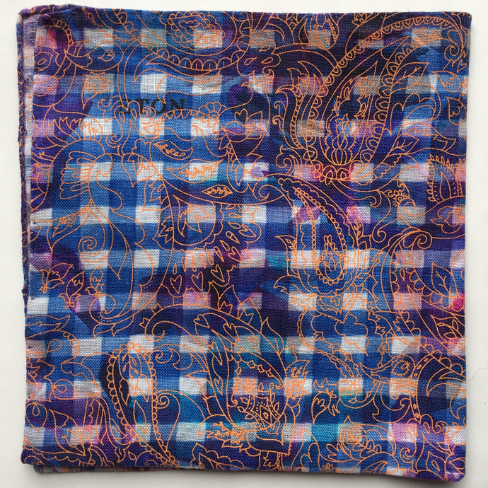 Eton Blue Gingham and Paisley Pocket Square