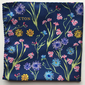 Eton Navy Garden Flowers Pocket Square