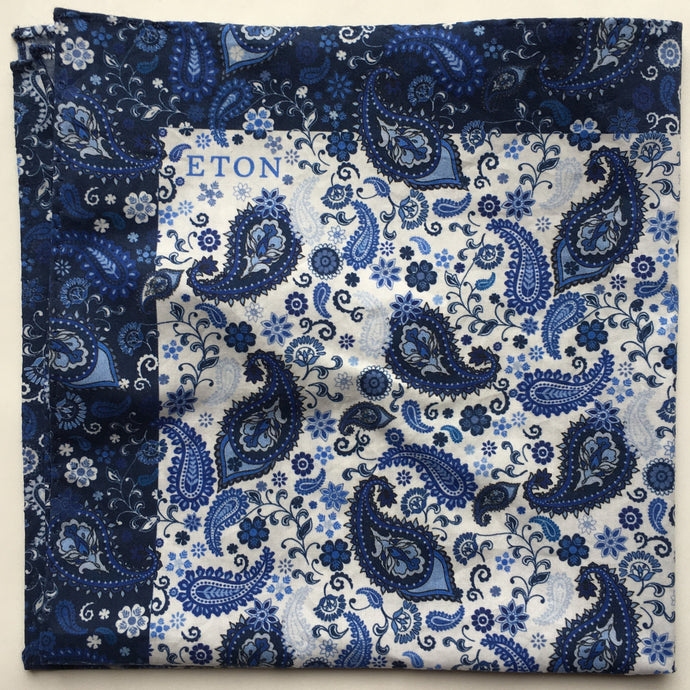 Eton Paisley Pocket Square with Navy Border