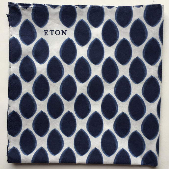 Eton Navy Oval Dots Pocket Square
