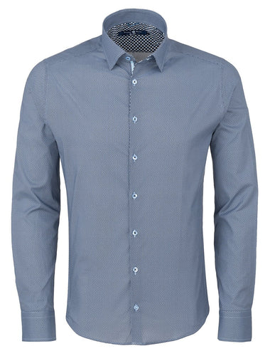Stone Rose  Microgrid Button Down | Blue