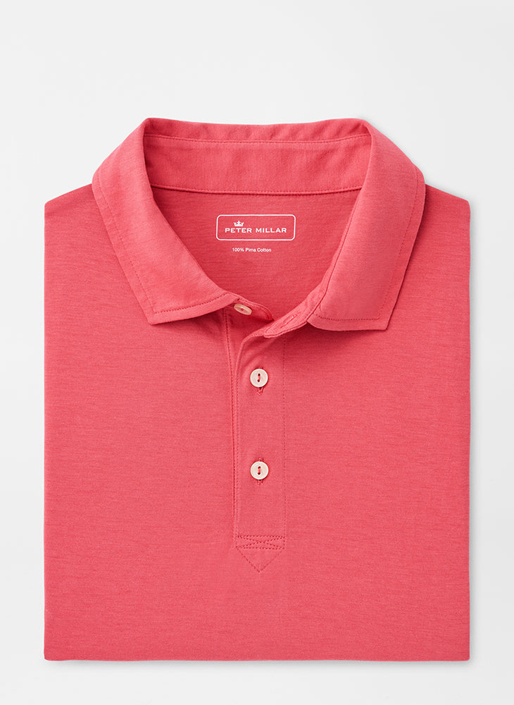 Peter Millar Solid Aqua Cotton Polo - Hyannis Red