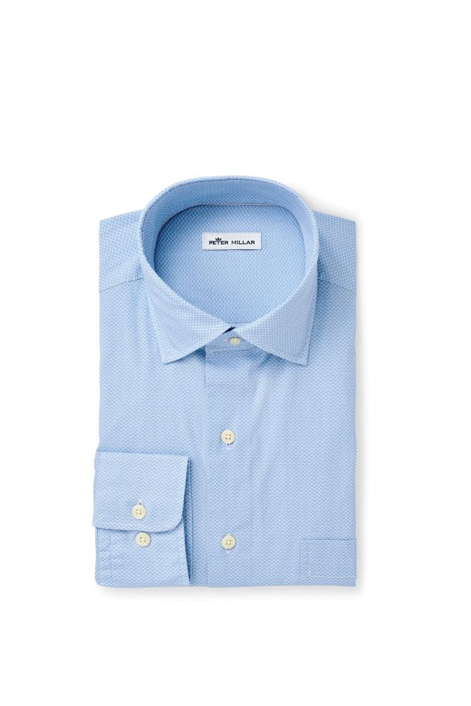 Peter Millar Dew Drop Cotton-Blend Sport Shirt | Cottage Blue