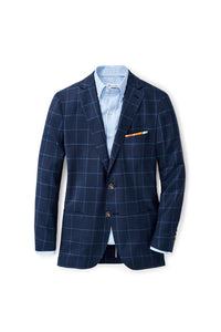Peter Millar Windowpane Soft Jacket | Navy-Sz XL-Long only