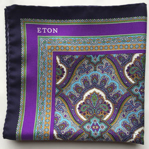 Eton Purple Paisley Print Pocket Square
