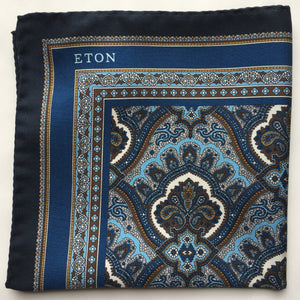 Eton Navy Paisley Print Pocket Square