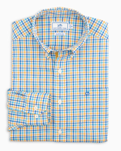 Southern Tide Coastal Passage Tripe Gingham Sport Shirt | Yellow