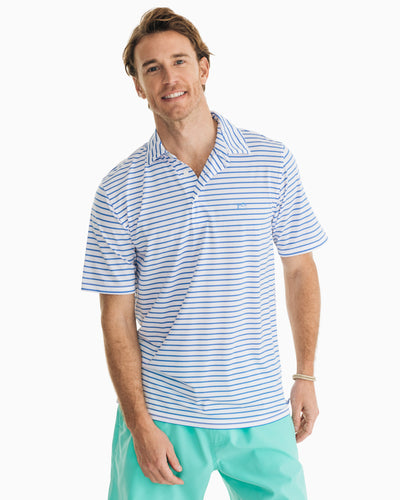 Southern Tide Striped Driver Performance Polo Shirt | White
