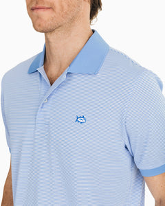 Southern Tide Jack Striped Performance Polo Shirt | Light Blue