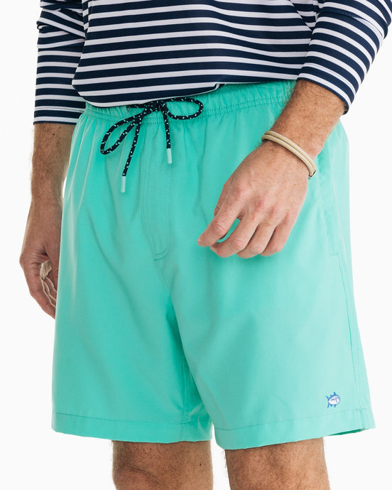Southern Tide Solid Swim Trunk | Blue & Green