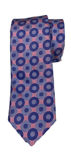 David Donahue- Pink with Navy and Light Blue Circle Pattern