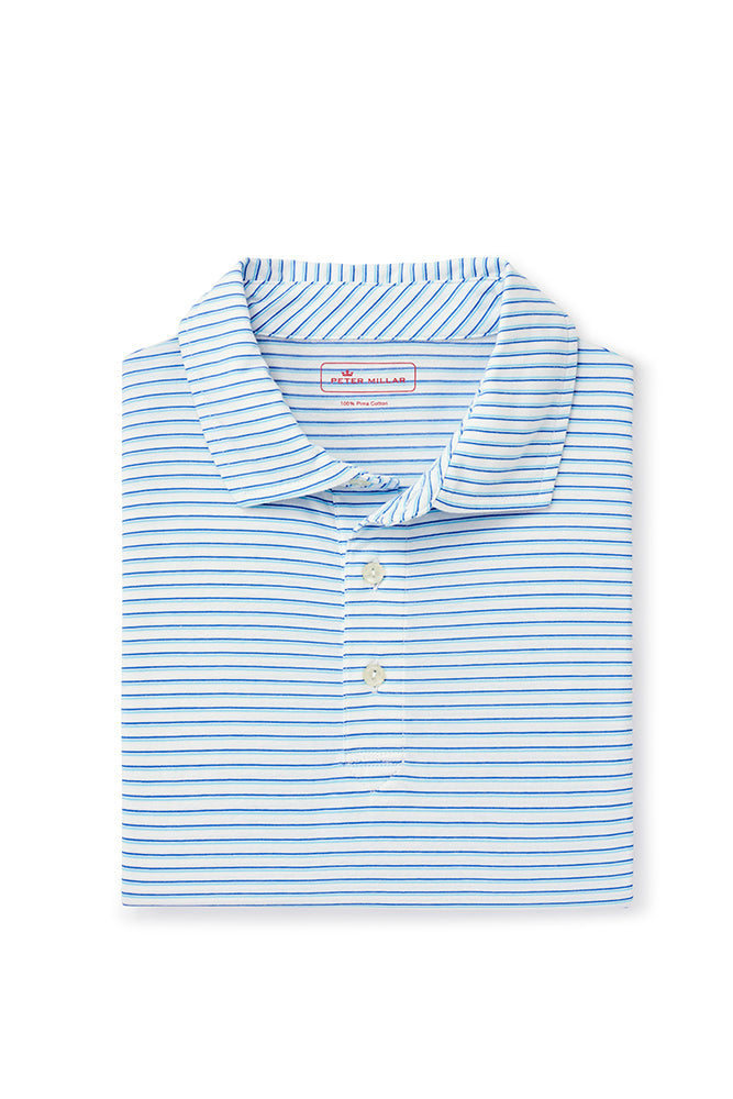 Peter Millar Bar Beach Aqua Cotton Polo | White