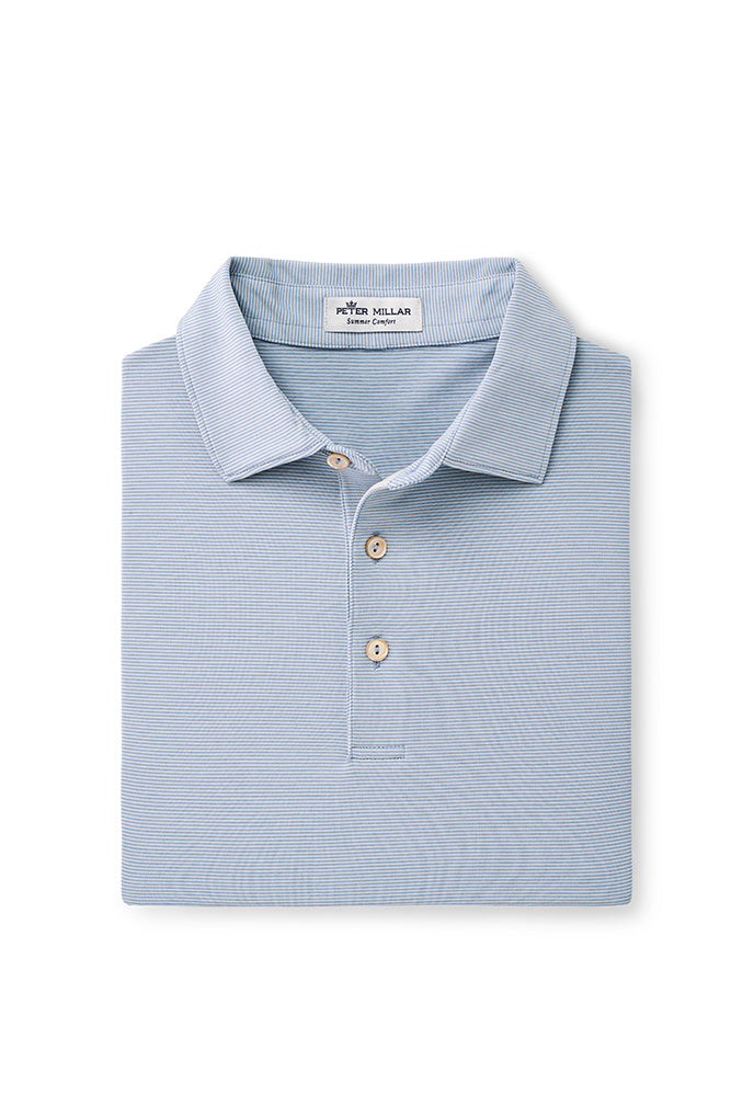 Peter Millar Jubilee Stripe Performance Polo - Blue/Grey