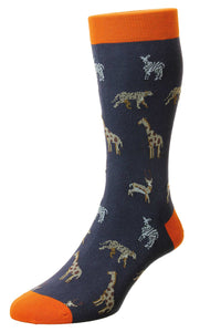 Pantherella Serengeti Safari Animals Motif – Navy