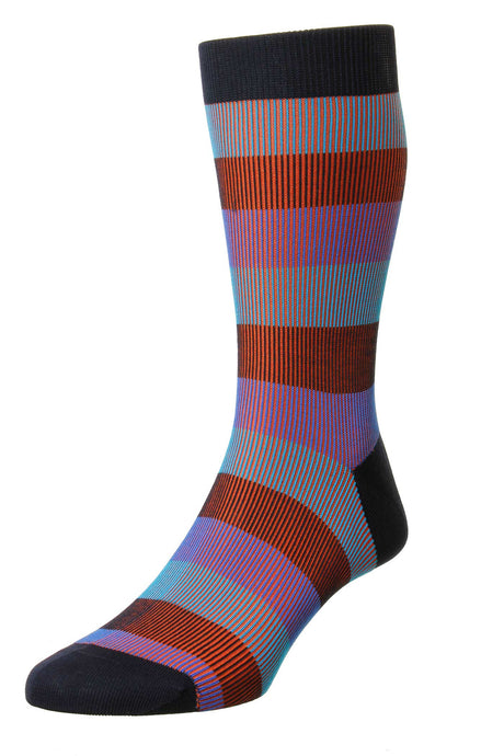Pantherella Shadow Rib 3 Color Stripe – Navy