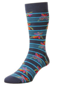 Pantherella Floral Stripe – Navy