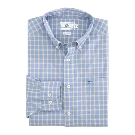Southern Tide Rig Check Button Down-Sky Blue