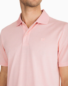 Southern Tide Roster Striped Performance Polo Shirt | Pink