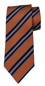 JZ RICHARDS Orange tie with Multi-Colored Stripes
