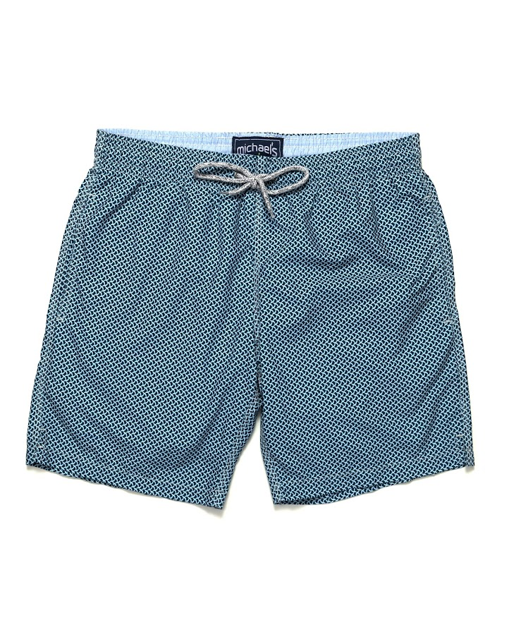 Balloon Boy Wave Print Swim Trunks | Navy