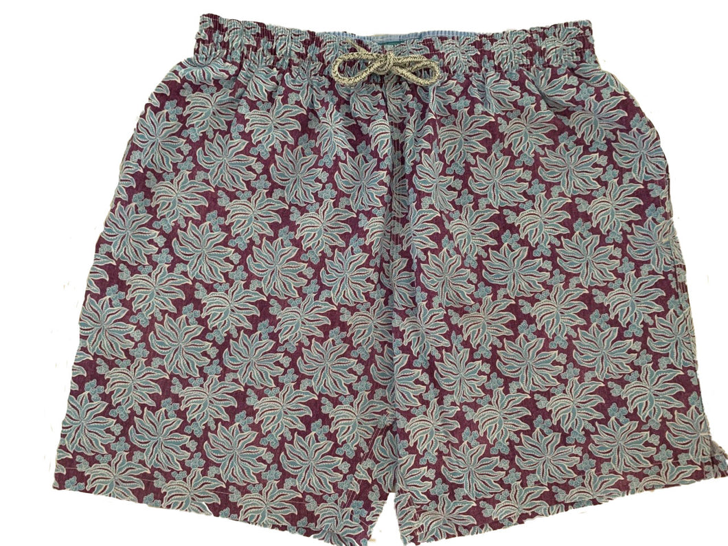 Michael's Foliage Purple Blue Swim Trunks | Purple