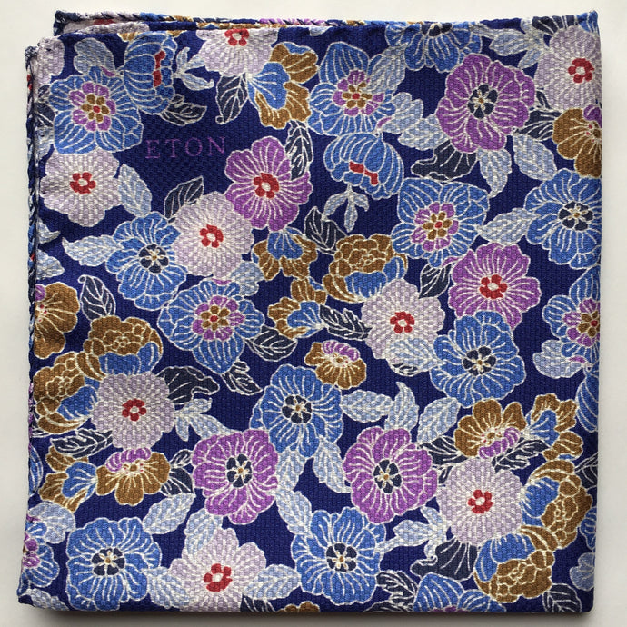 Eton Navy Mass of Flowers Pocket Square