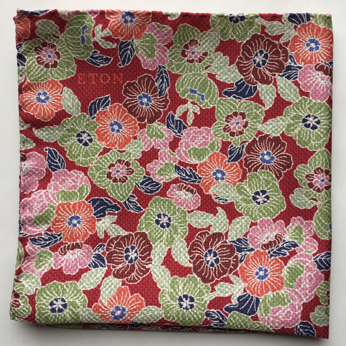 Eton Red Mass of Flowers Pocket Square