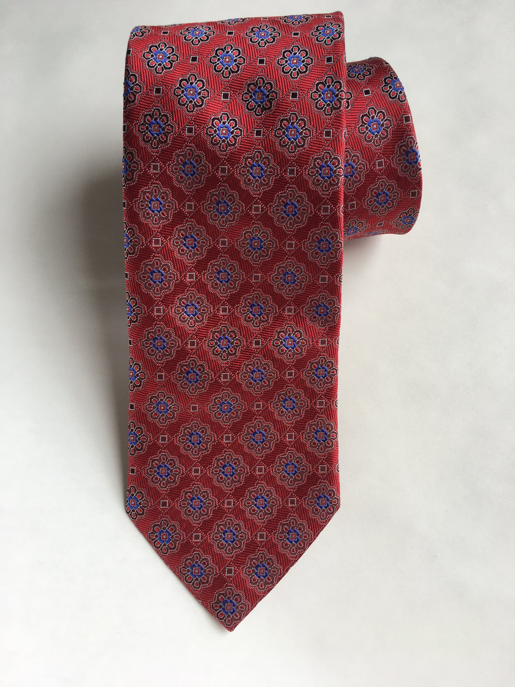 Eton Red Diamond Medallion Tie