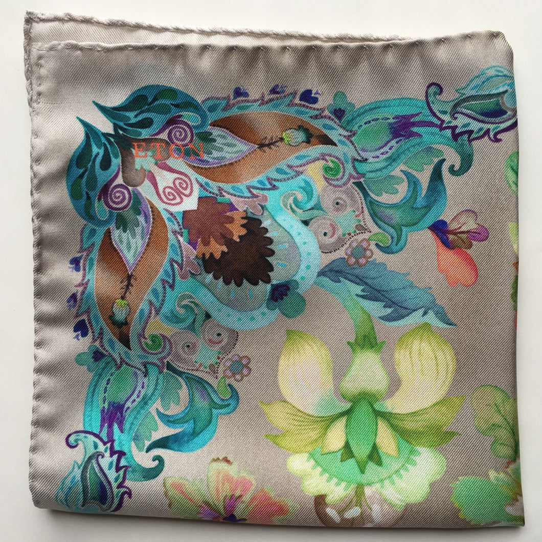 Eton Tan Floral Pocket Square