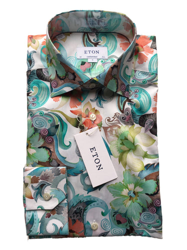 Eton  Floral Twill Shirt | Water Color