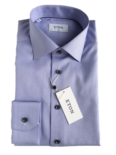 Eton  Textured Solid Shirt | Sky Blue
