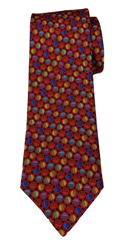 JZ RICHARDS Red Tie with Multi-Colored Circles
