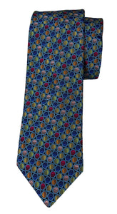 JZ RICHARDS Blue Tie with Multi-Colored Circles