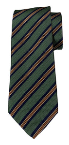 JZ RICHARDS Green Tie with Multi-Colored Stripes