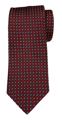 JZ RICHARDS Burgundy Tie with Square Pattern